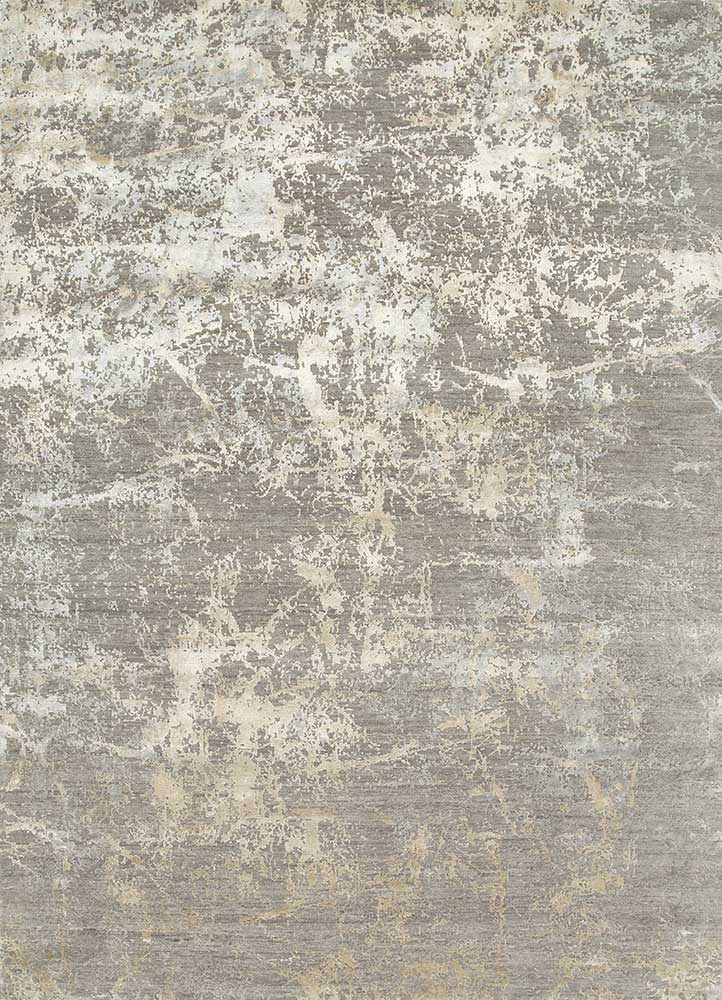 ESK-411 Medium Gray/White Sand grey and black wool and bamboo silk hand knotted Rug
