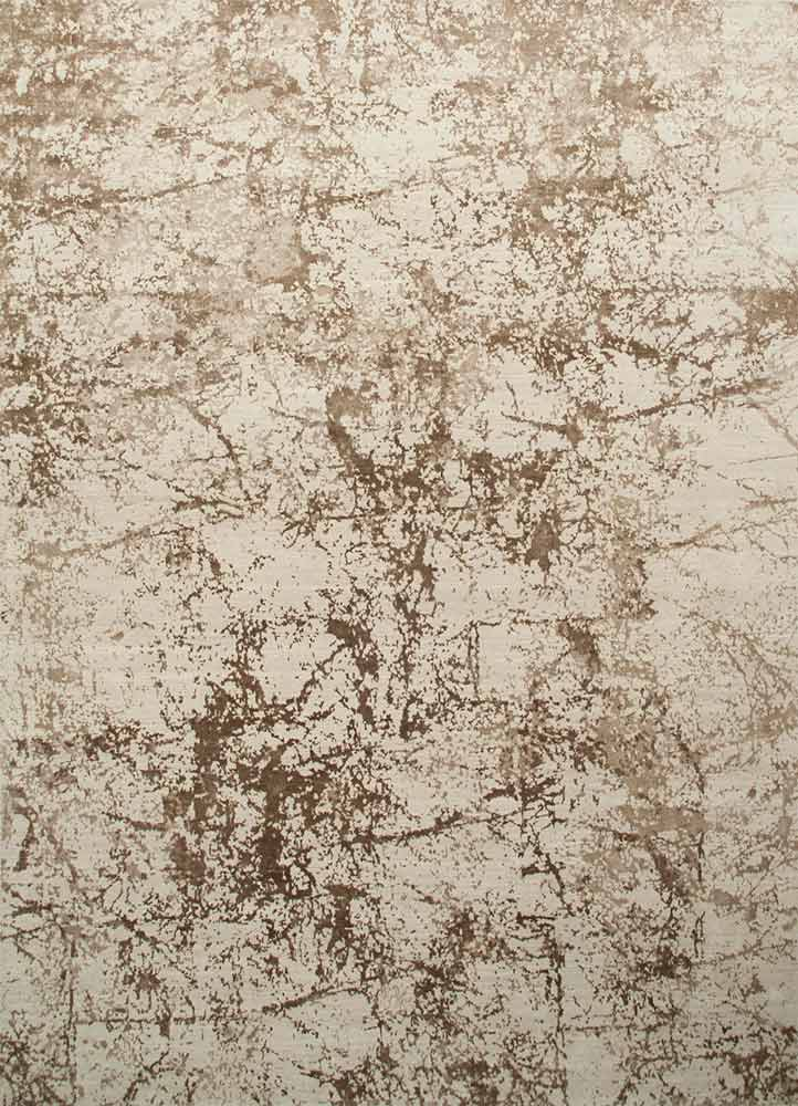ESK-411 Antique White/Natural Beige ivory wool and bamboo silk hand knotted Rug