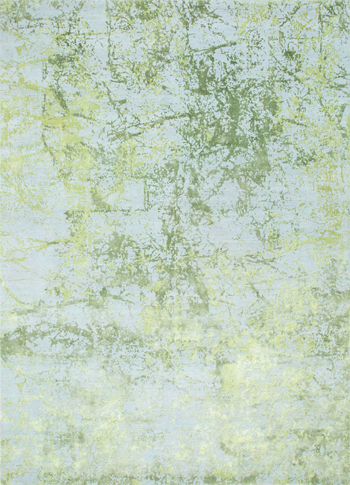 ESK-411 Caribbean Sky/Lily Green blue wool and bamboo silk hand knotted Rug