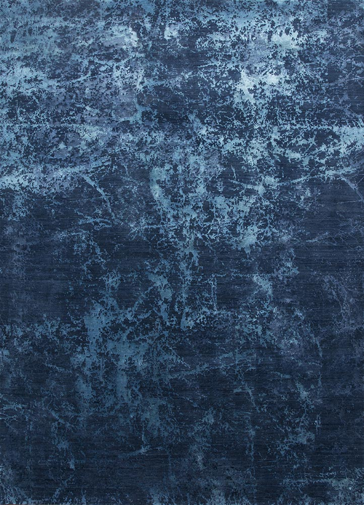 ESK-411 Indigo Blue/Ocean Blue blue wool and bamboo silk hand knotted Rug