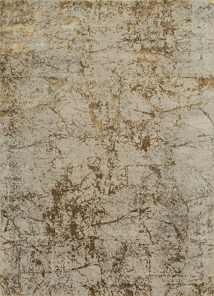 ESK-411 Classic Gray/Honey grey and black wool and bamboo silk hand knotted Rug