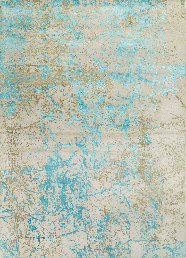 ESK-411 Antique White/Jamaican Aqua ivory wool and bamboo silk hand knotted Rug