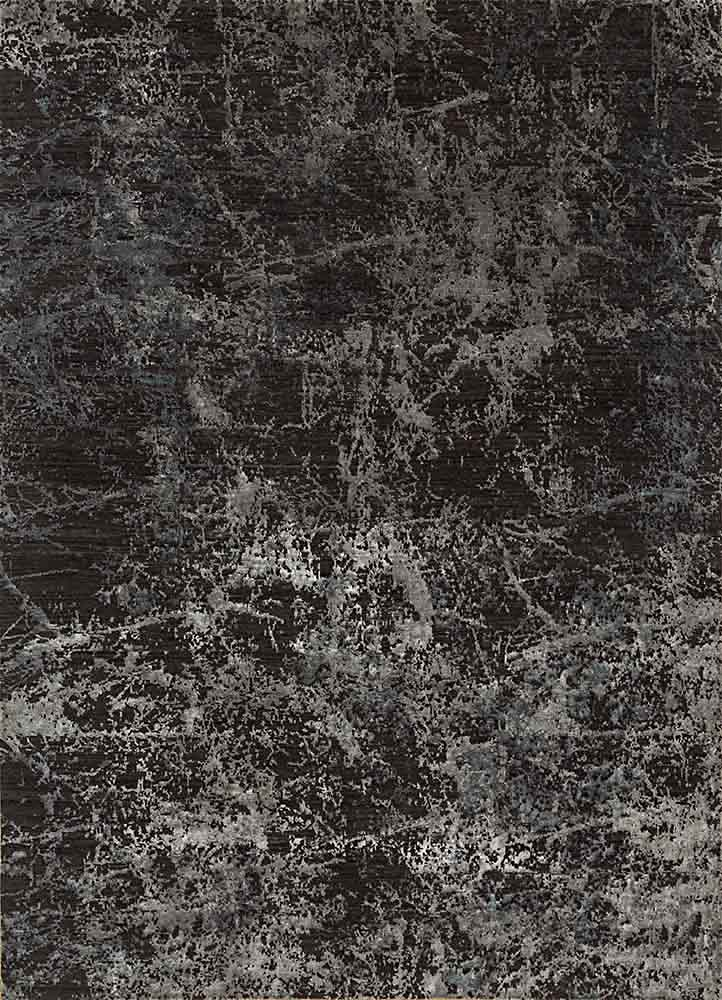 ESK-411 Liquorice/Frost Gray grey and black wool and bamboo silk hand knotted Rug