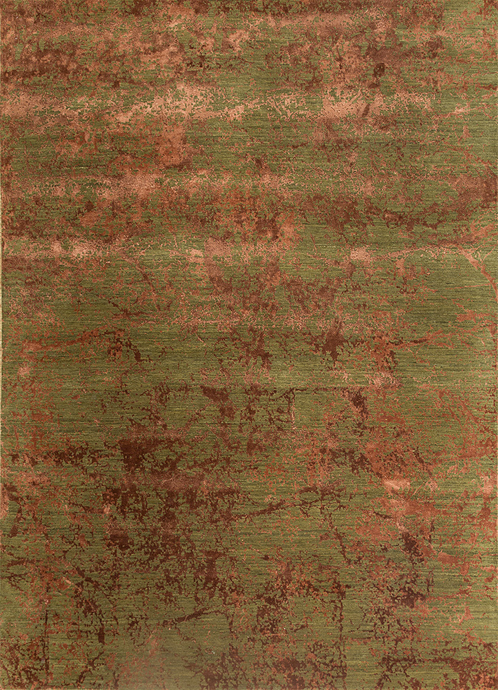 ESK-411 Swamp Green/Red Oxide green wool and bamboo silk hand knotted Rug