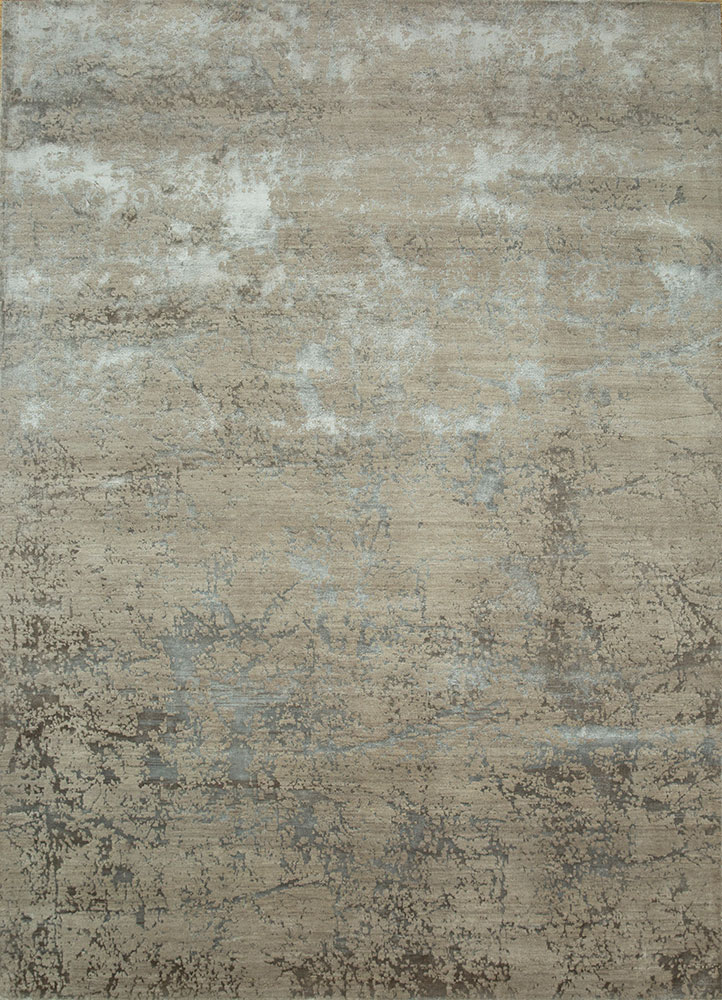 ESK-411 Classic Gray/Shale grey and black wool and bamboo silk hand knotted Rug