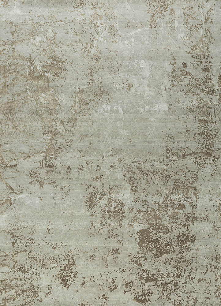 ESK-411 Classic Gray/Natural Beige grey and black wool and bamboo silk hand knotted Rug