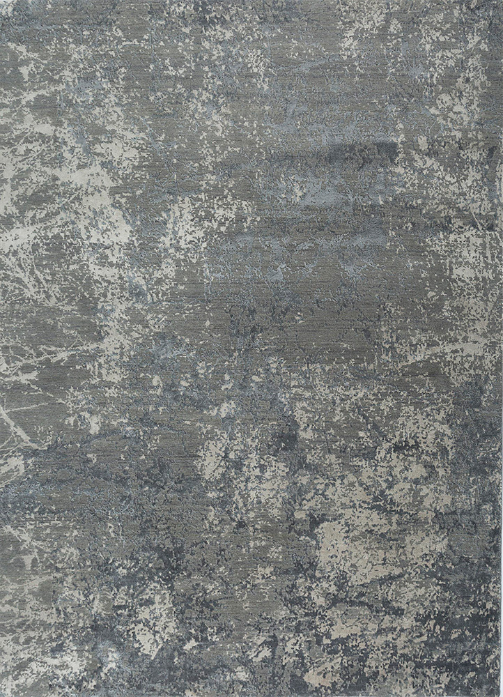ESK-411 Medium Gray/Fossil grey and black wool and bamboo silk hand knotted Rug