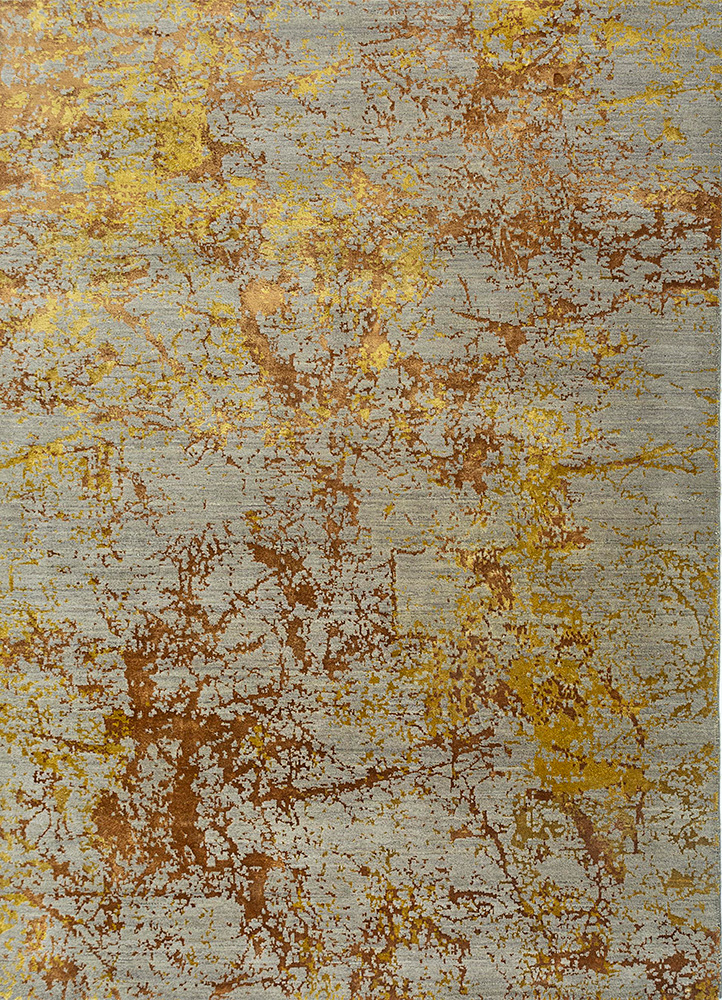 ESK-411 Silver Gray/Chartreuse beige and brown wool and bamboo silk hand knotted Rug