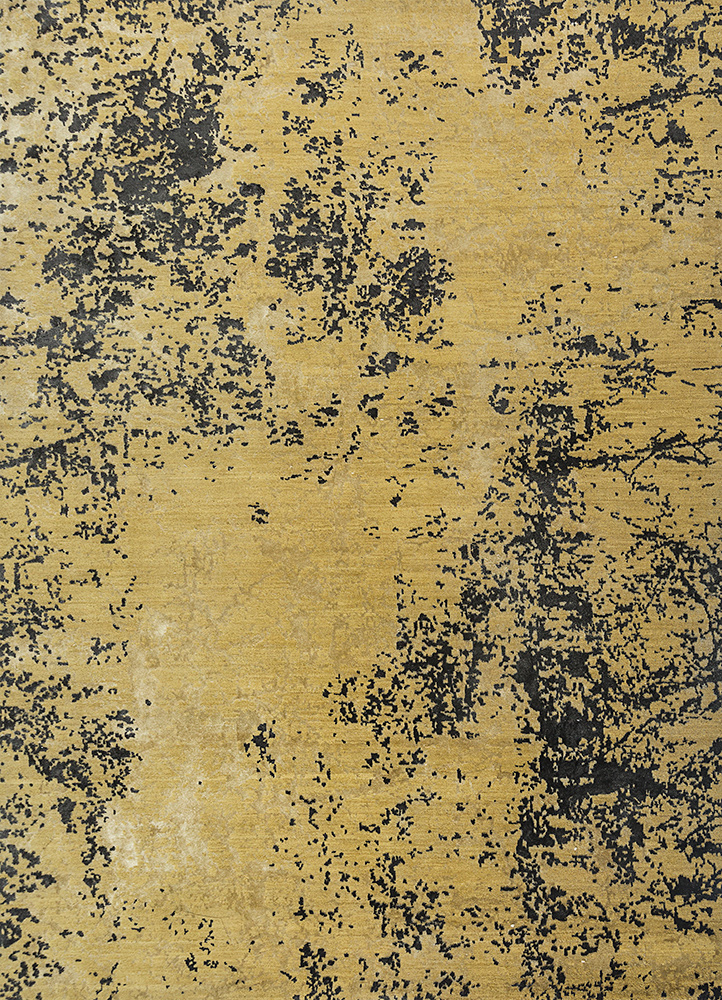 ESK-411 Golden Apricot/Black Olive gold wool and bamboo silk hand knotted Rug