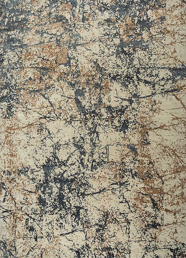 ESK-411 Cloud White/Black Olive ivory wool and bamboo silk hand knotted Rug