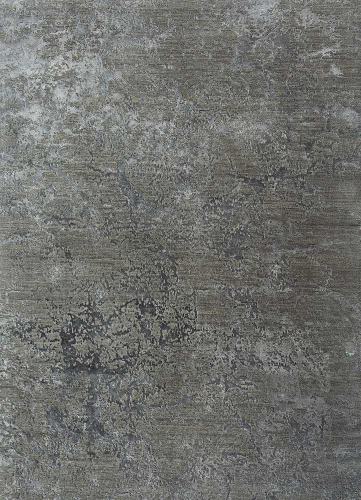 ESK-411 Dark Frost Gray/Liquorice grey and black wool and bamboo silk hand knotted Rug