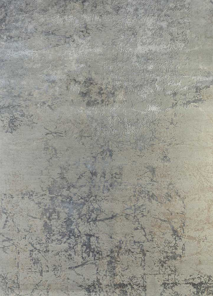 ESK-411 Classic Gray/Frost Gray grey and black wool and bamboo silk hand knotted Rug
