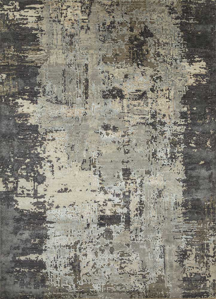 ESK-439 Ashwood/Frost Gray grey and black wool and bamboo silk hand knotted Rug