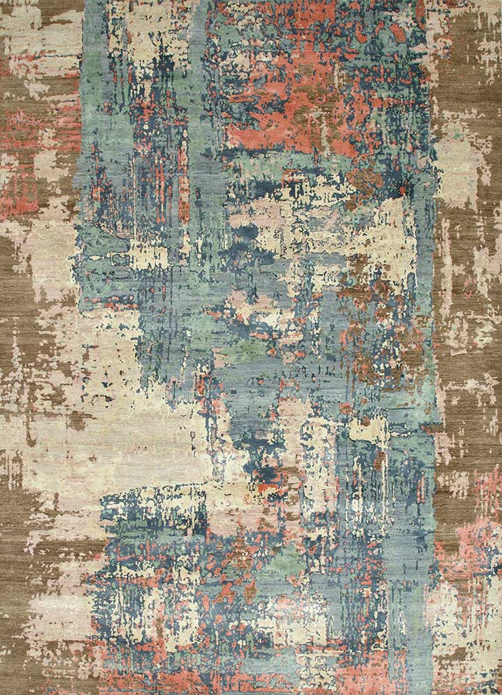 ESK-439 Antique White/Pearl Blue ivory wool and bamboo silk hand knotted Rug