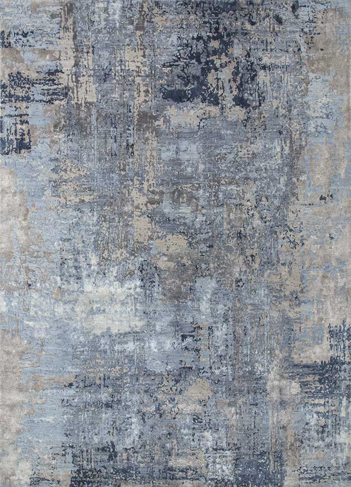 ESK-439 Chicory/Ashwood blue wool and bamboo silk hand knotted Rug