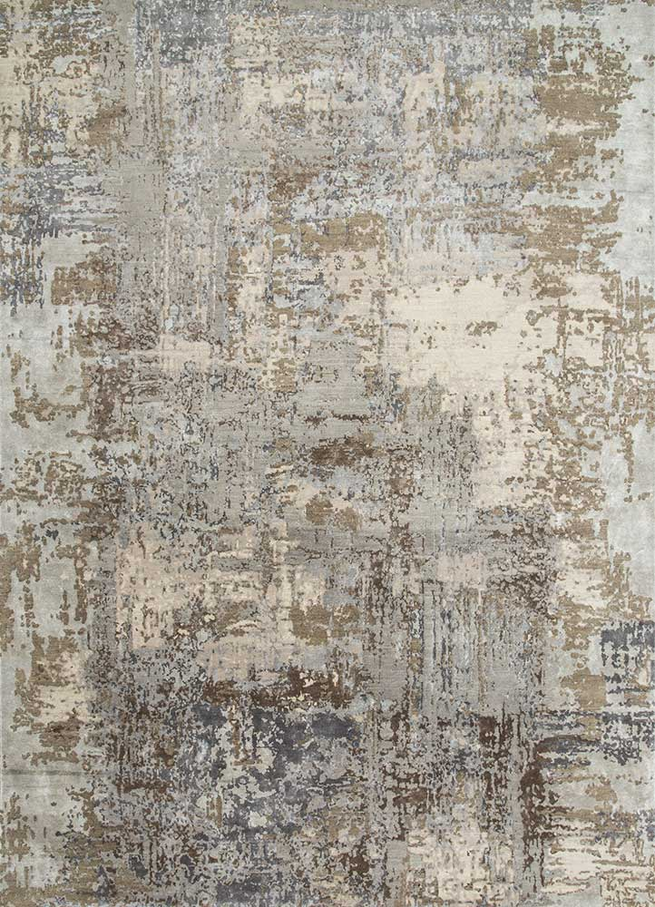 ESK-439 Ashwood/Antique White grey and black wool and bamboo silk hand knotted Rug