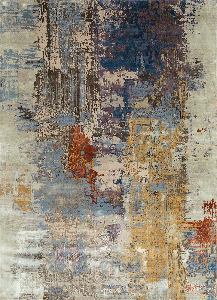 ESK-439 Soft Gray/Mauve grey and black wool and bamboo silk hand knotted Rug