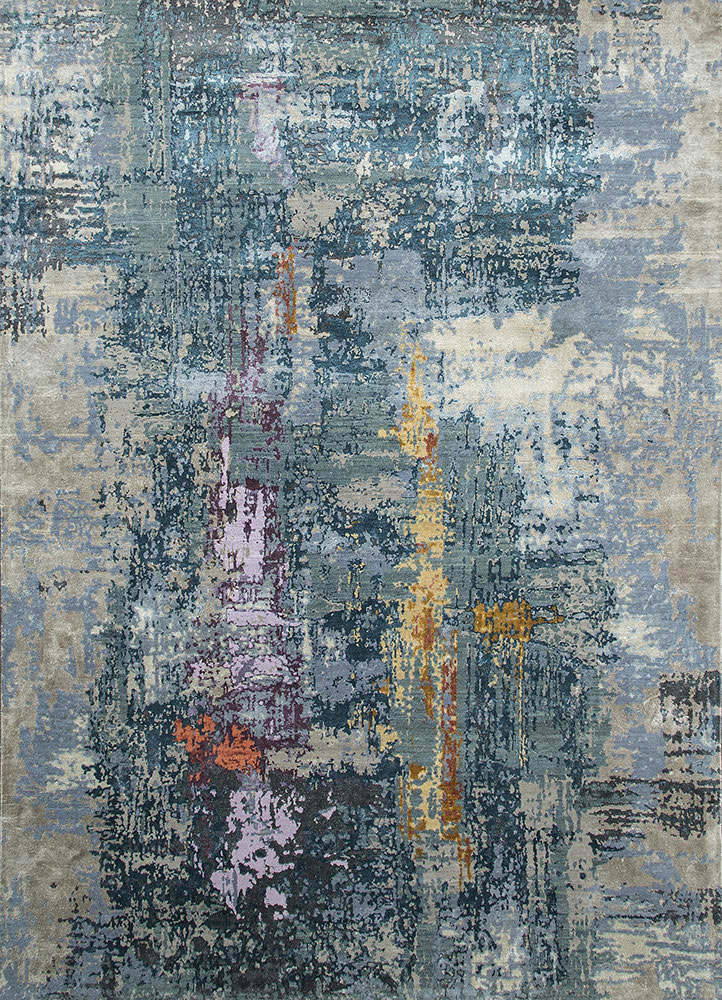 ESK-439 Seaside Blue/Violet Ice blue wool and bamboo silk hand knotted Rug