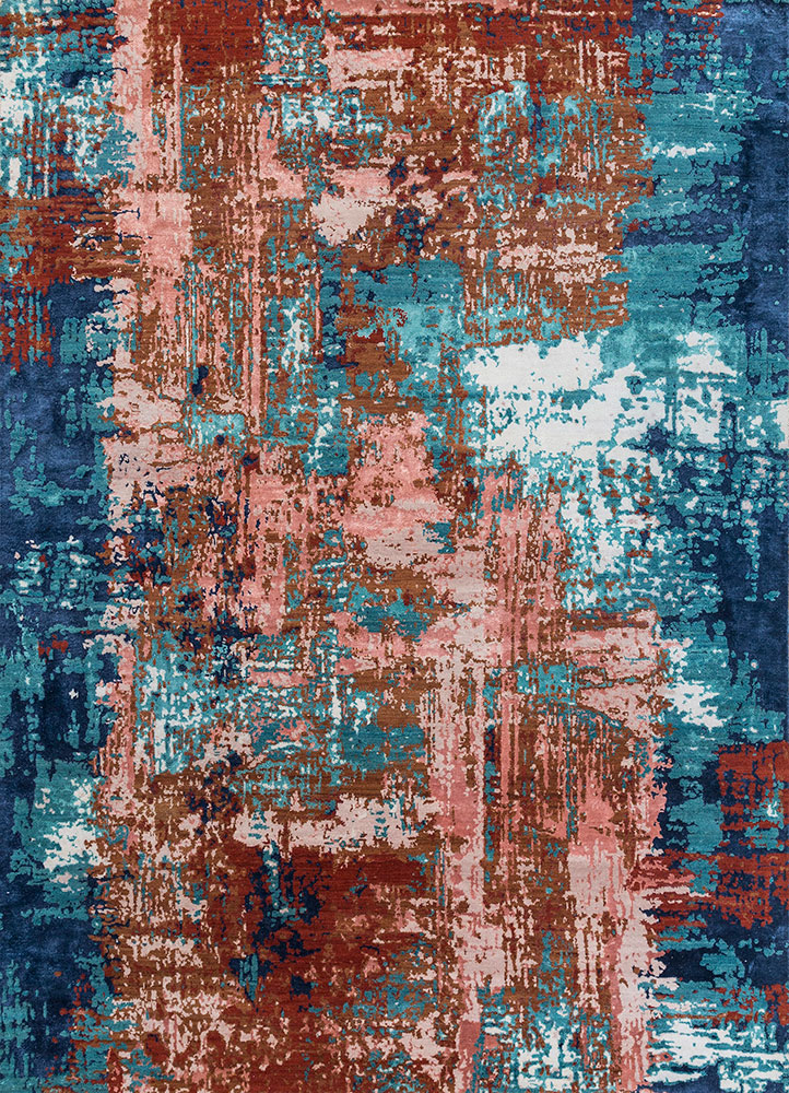 ESK-439 Light Rust/Capri red and orange wool and bamboo silk hand knotted Rug
