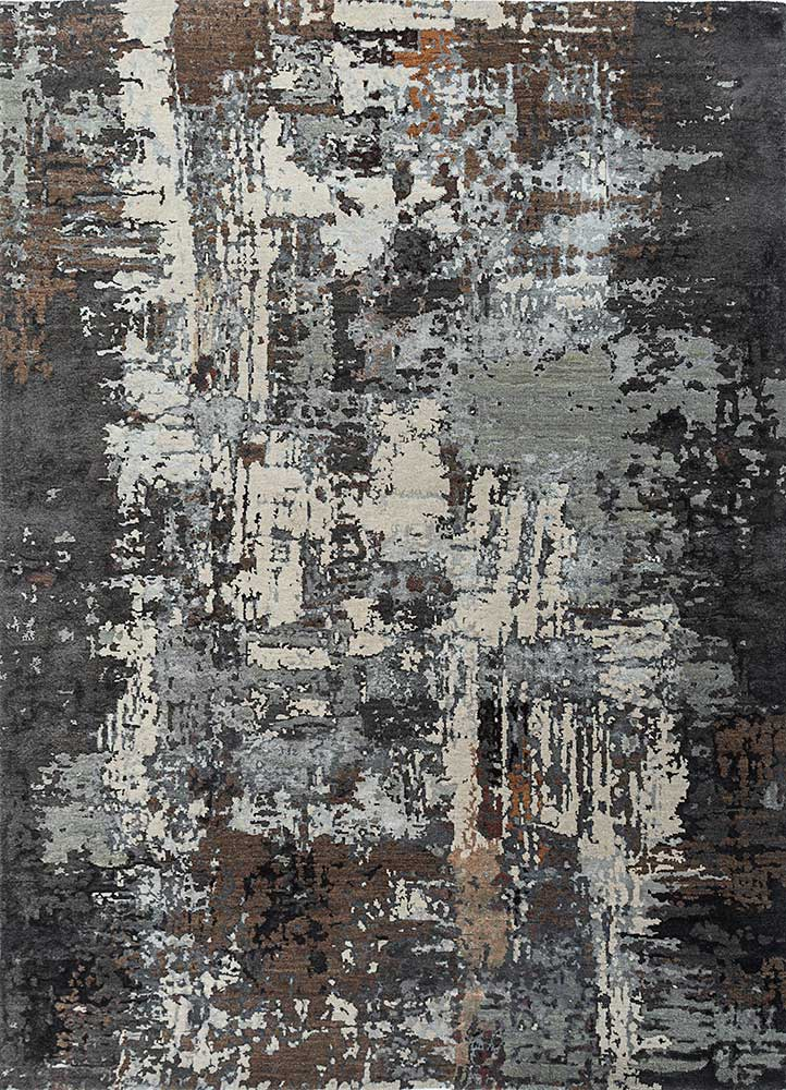 ESK-439 Liquorice/Nickel grey and black wool and bamboo silk hand knotted Rug