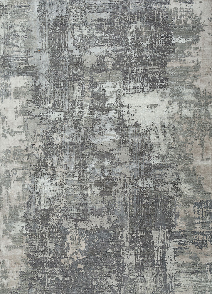 ESK-439 Frost Gray/Medium Gray grey and black wool and bamboo silk hand knotted Rug