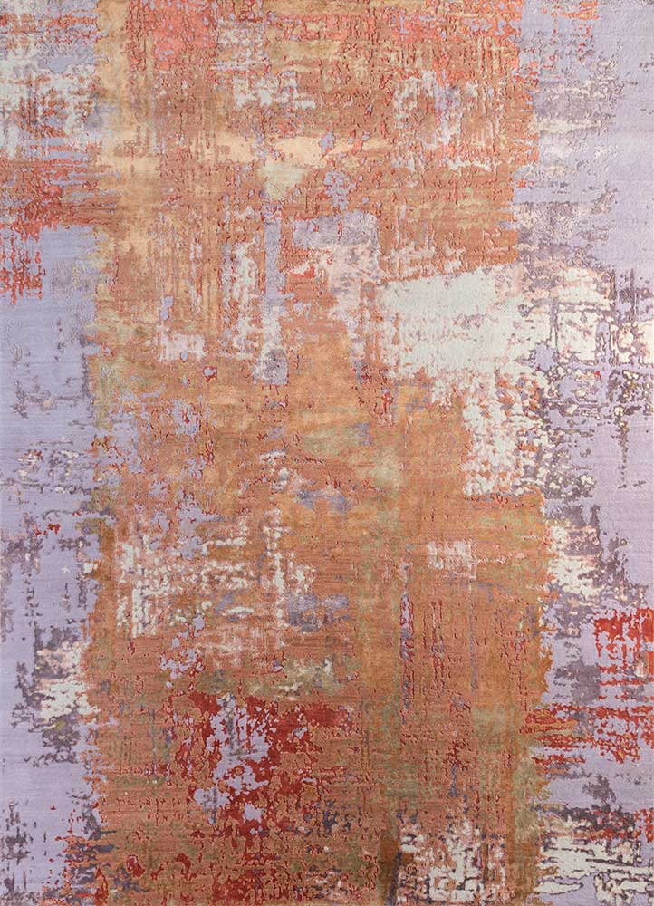 ESK-439 Copper Tan/Violet Ice red and orange wool and bamboo silk hand knotted Rug