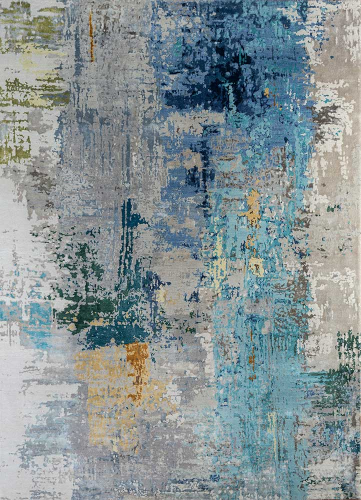 ESK-439 Ashwood/Fresh Turquoise grey and black wool and bamboo silk hand knotted Rug