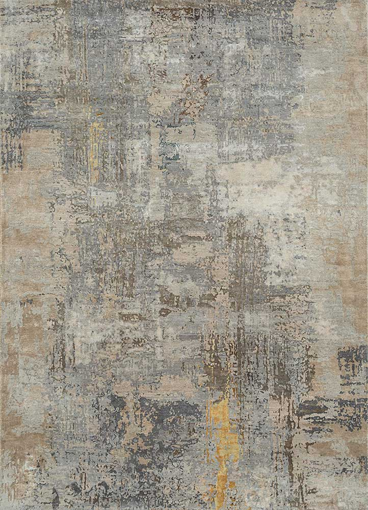ESK-439 Ashwood/Dark Ivory grey and black wool and bamboo silk hand knotted Rug