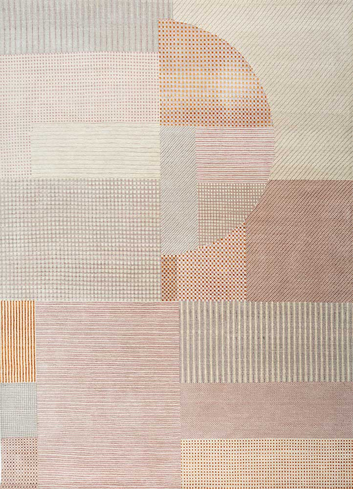 ESK-459 Antique White/Peach Carnation ivory wool and bamboo silk hand knotted Rug