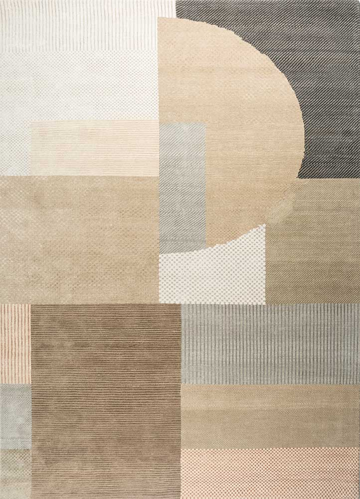 ESK-459 White/Dark Frost Gray ivory wool and bamboo silk hand knotted Rug