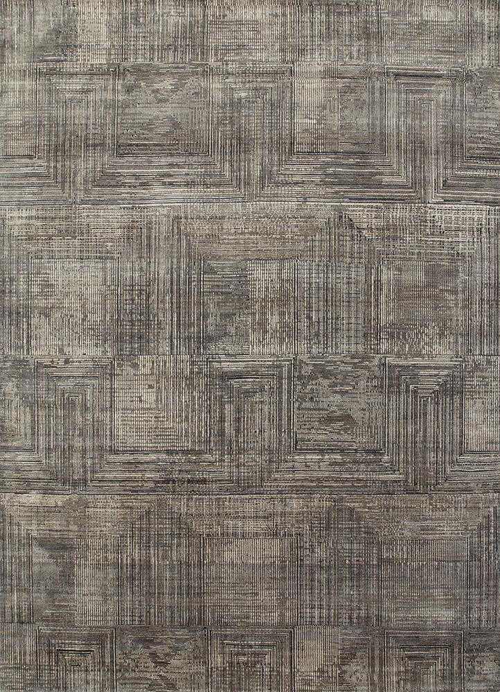 ESK-472 Ashwood/Medium Gray grey and black wool and bamboo silk hand knotted Rug