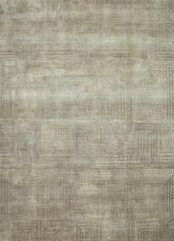 ESK-472 Classic Gray/Ashwood grey and black wool and bamboo silk hand knotted Rug