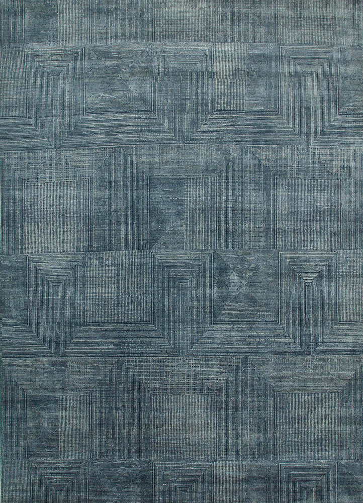 ESK-472 Skyline Blue/Chicory blue wool and bamboo silk hand knotted Rug