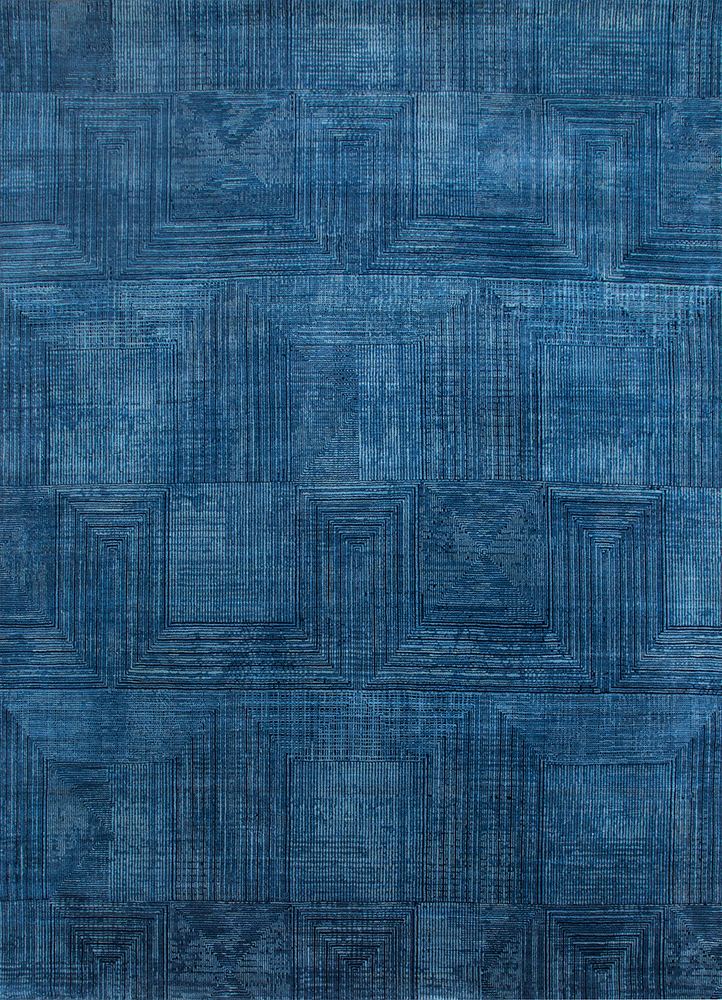 ESK-472 Antique Blue/Blue Lake blue wool and bamboo silk hand knotted Rug
