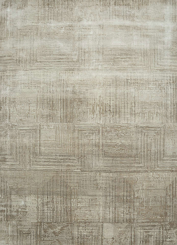 ESK-472 White/Flax ivory wool and bamboo silk hand knotted Rug