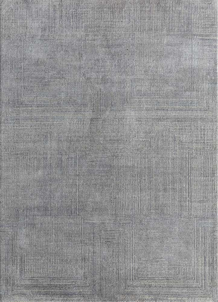 ESK-472 Ashwood/Nickel grey and black wool and bamboo silk hand knotted Rug