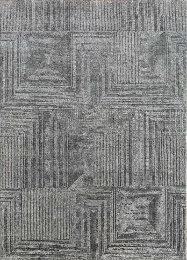ESK-472 Classic Gray/Medium Gray grey and black wool and bamboo silk hand knotted Rug