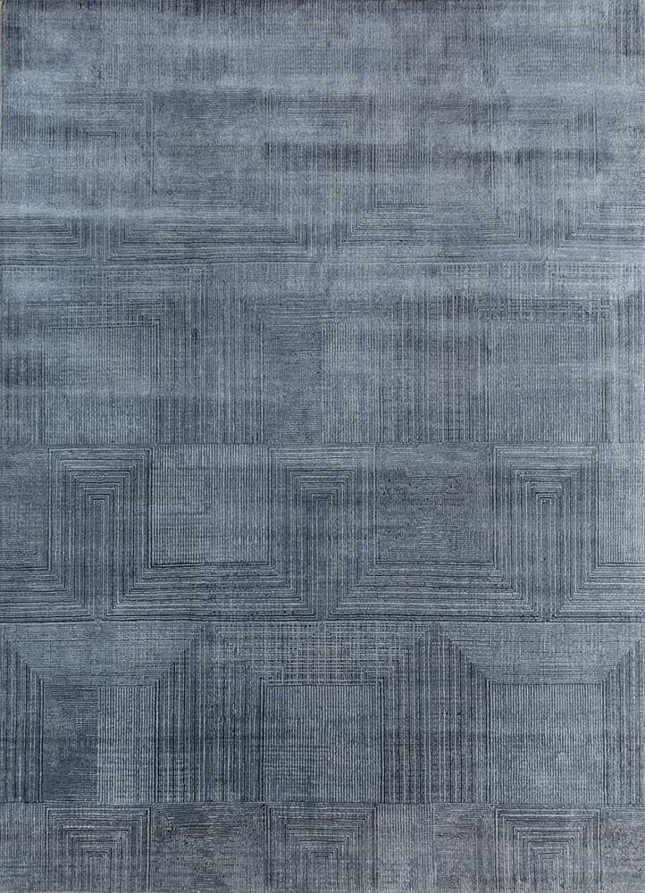 ESK-472 Pearl Blue/Ebony Slate blue wool and bamboo silk hand knotted Rug