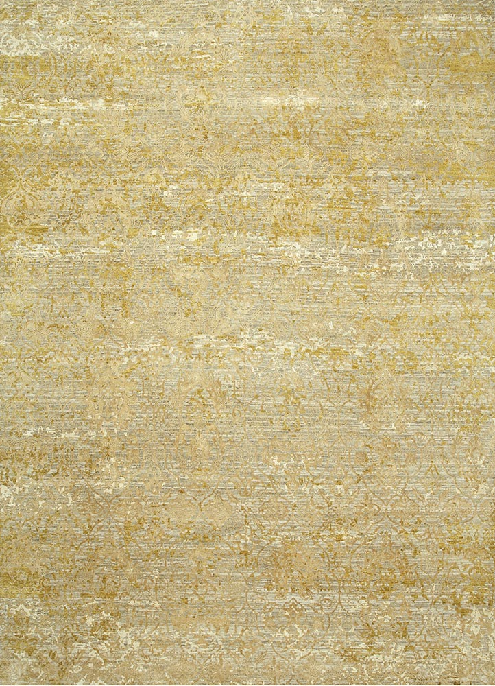ESK-632 Antique White/Golden Apricot ivory wool and bamboo silk hand knotted Rug