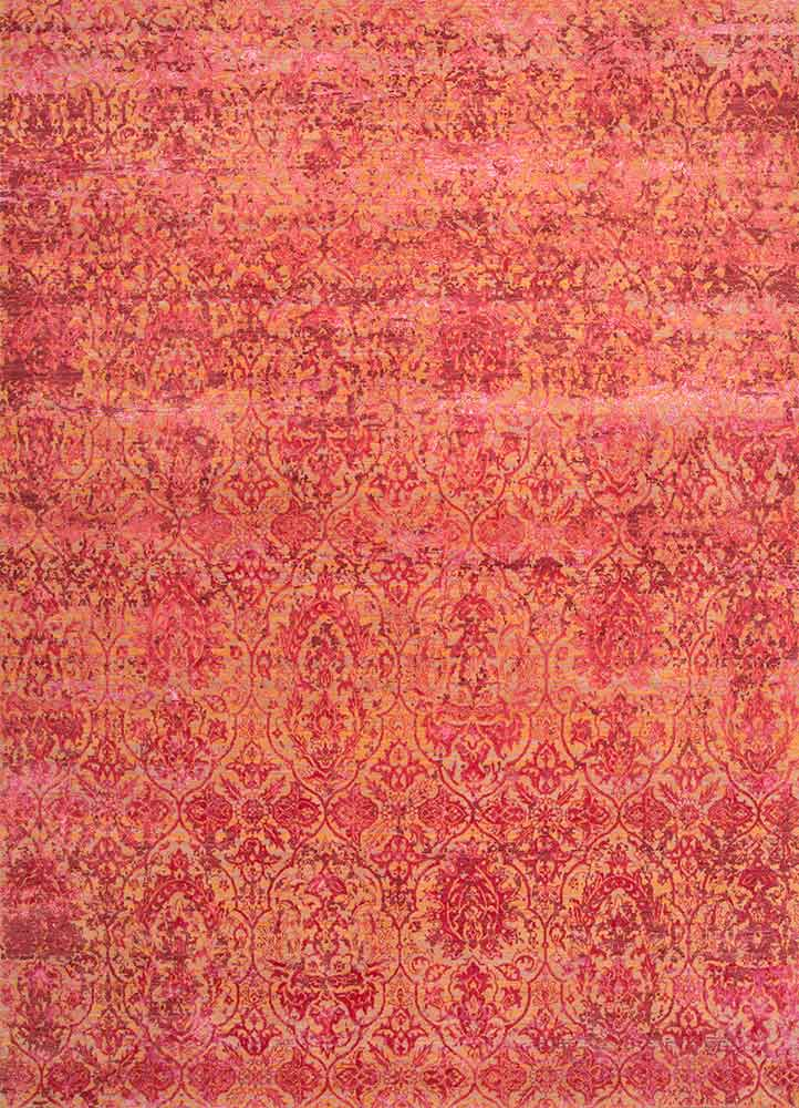 ESK-632 Shell Coral/Deep Claret red and orange wool and bamboo silk hand knotted Rug