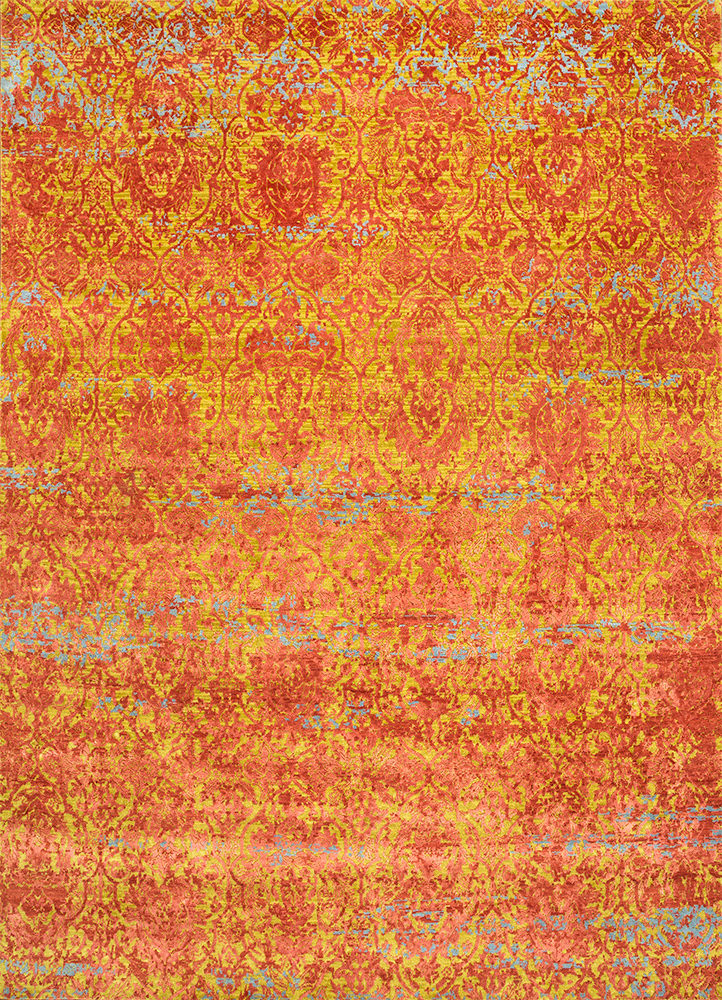 ESK-632 Citron/Tabasco green wool and bamboo silk hand knotted Rug