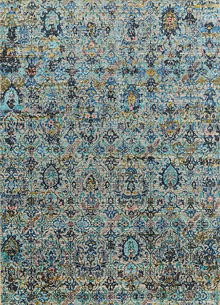 ESK-632 Ivory/Ombre Blue ivory wool and bamboo silk hand knotted Rug