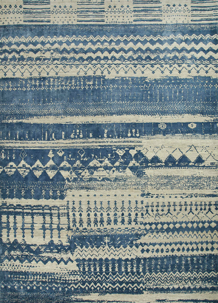 ESK-663 Classic Gray/Ensign Blue grey and black wool and bamboo silk hand knotted Rug