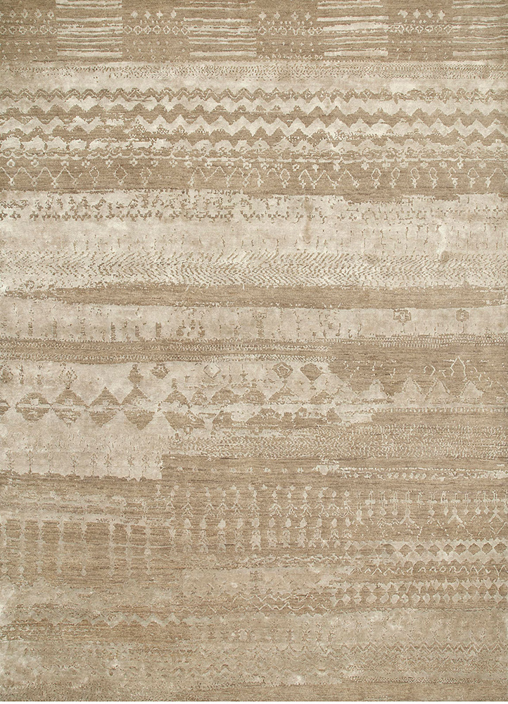 ESK-663 Dark Taupe/Fossil grey and black wool and bamboo silk hand knotted Rug