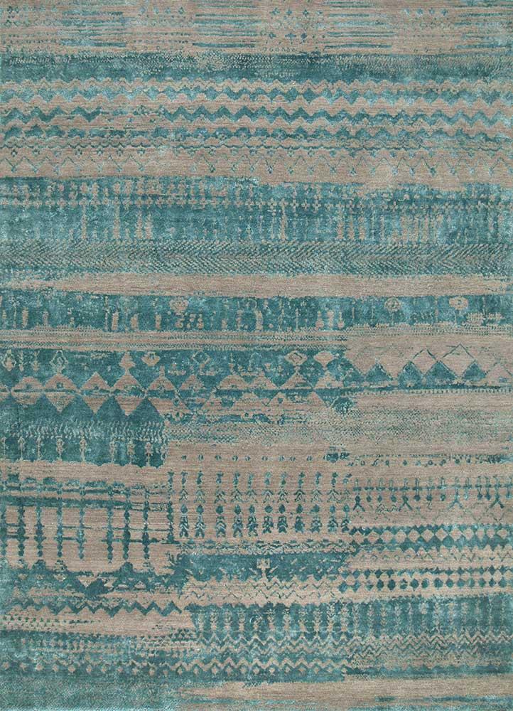 ESK-663 Ashwood/Capri grey and black wool and bamboo silk hand knotted Rug