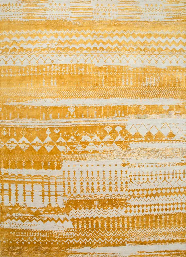 ESK-663 White/Light Topaz ivory wool and bamboo silk hand knotted Rug