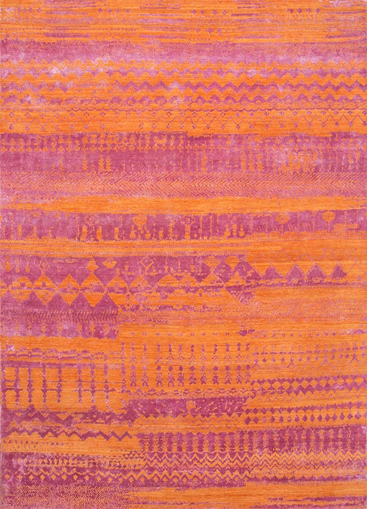 ESK-663 Tiger Lily/Ibis Rose red and orange wool and bamboo silk hand knotted Rug