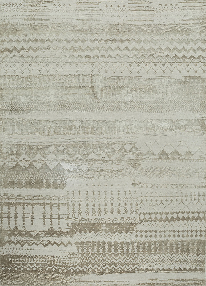 ESK-663 White/White Sand ivory wool and bamboo silk hand knotted Rug