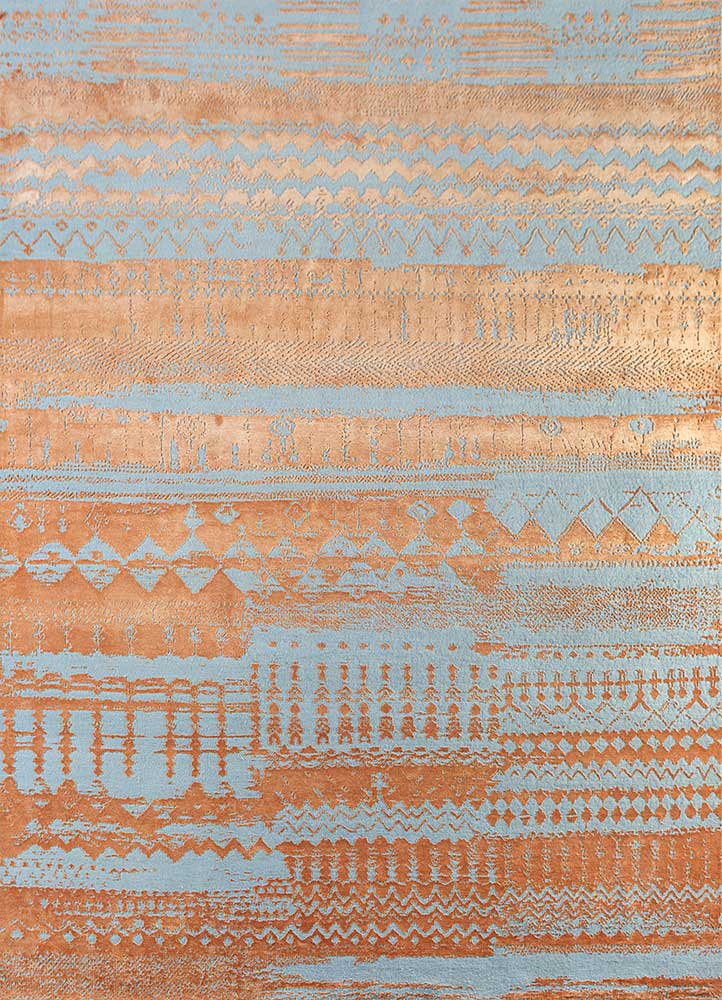 ESK-663 Caribbean Sky/Sunset blue wool and bamboo silk hand knotted Rug