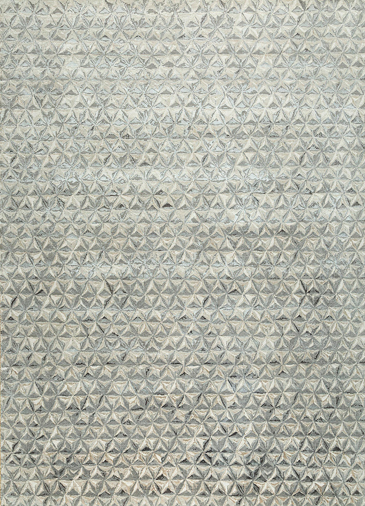 free verse by kavi ivory wool and bamboo silk hand knotted Rug - HeadShot